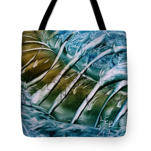 Blue Abstract Dark Ribbon Centre Tote Bag