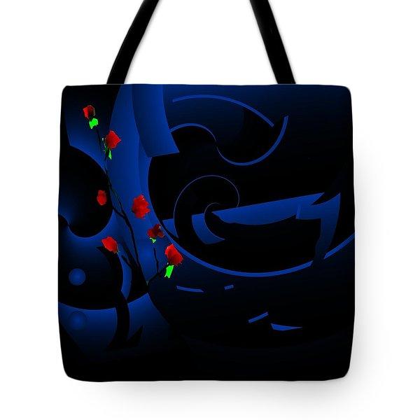 Blue Abstract Tote Bag by David Lane