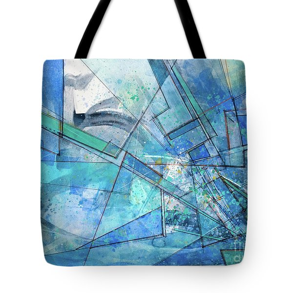 Tote Bag featuring the painting Blue Abstract  by Robert Anderson