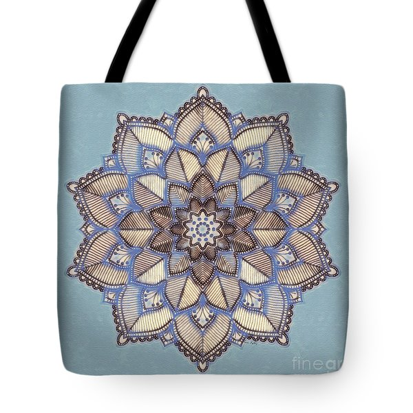 Blue And White Mandala Tote Bag