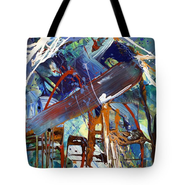 Blue Afternoon Abstract  Tote Bag by Erika Pochybova
