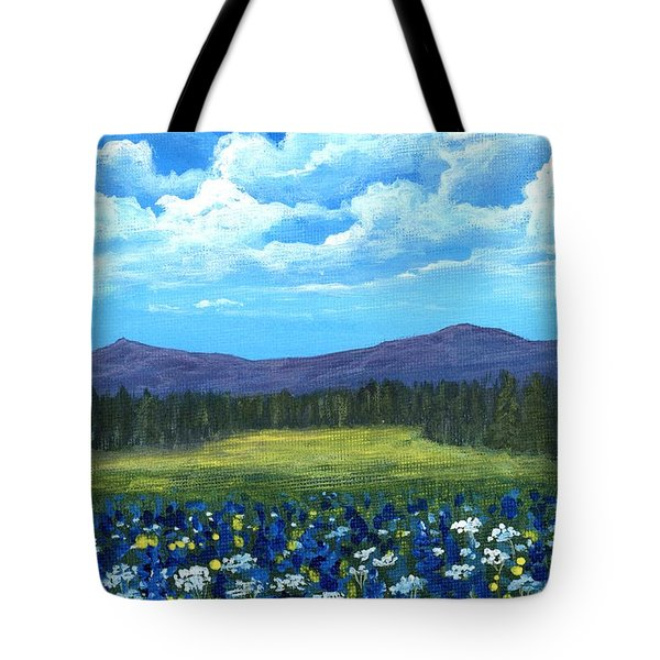 Tote Bag featuring the painting Blue Afternoon by Anastasiya Malakhova