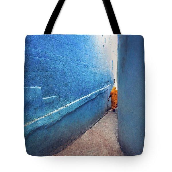 Blue Alleyway Tote Bag by Marji Lang