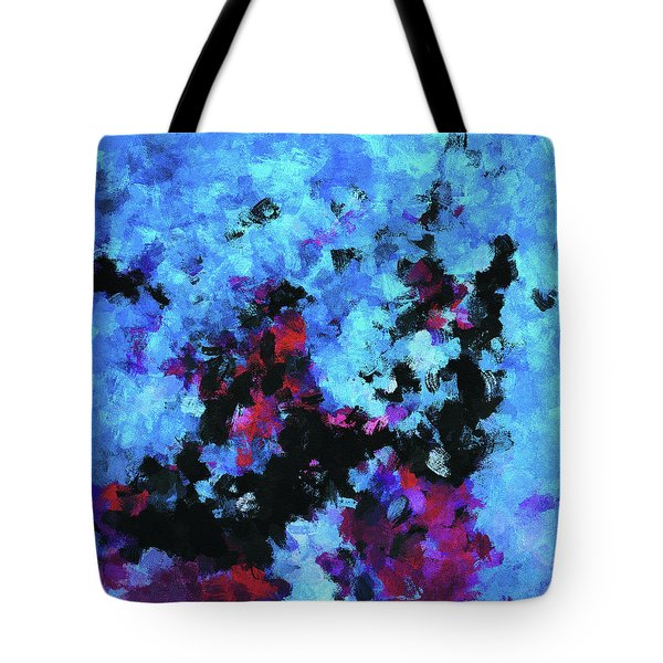 Tote Bag featuring the painting Blue And Black Abstract Wall Art by Ayse Deniz