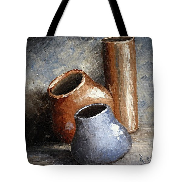 Blue And Brown Pots Tote Bag