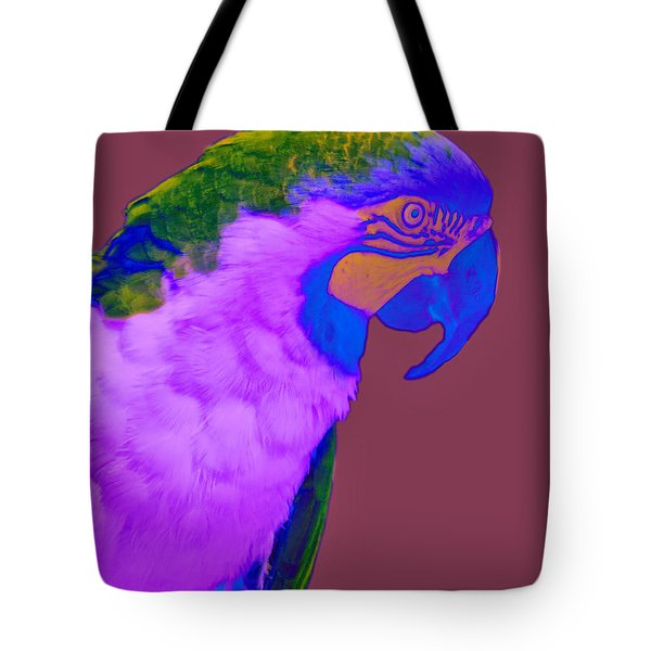 Tote Bag featuring the photograph Blue And Gold Macaw Sabattier by Bill Barber