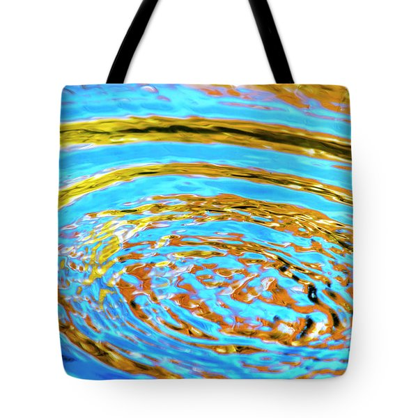 Blue And Gold Spiral Abstract Tote Bag by Christina Rollo