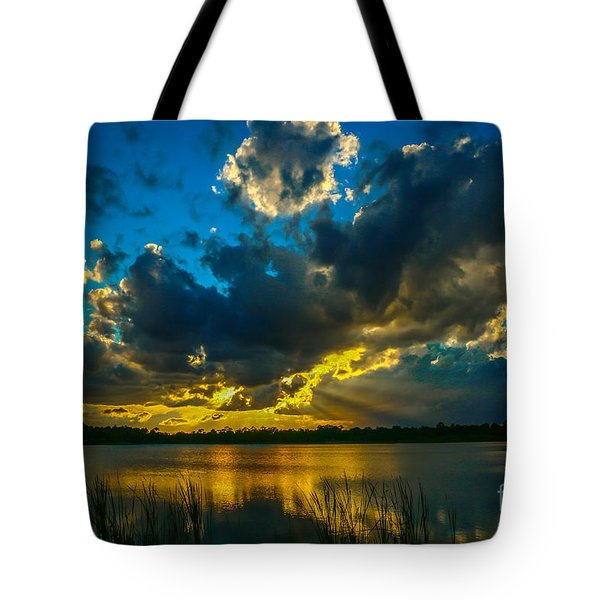 Blue And Gold Sunset With Rays Tote Bag
