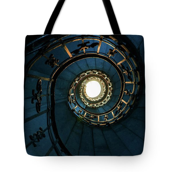 Tote Bag featuring the photograph Blue And Golden Spiral Staircase by Jaroslaw Blaminsky