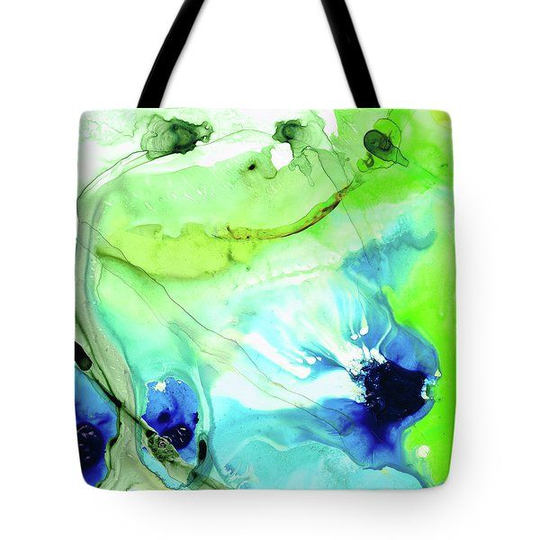 Tote Bag featuring the painting Blue And Green Abstract - Land And Sea - Sharon Cummings by Sharon Cummings