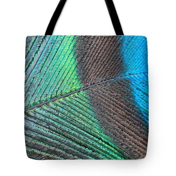 Blue And Green Feathers Tote Bag