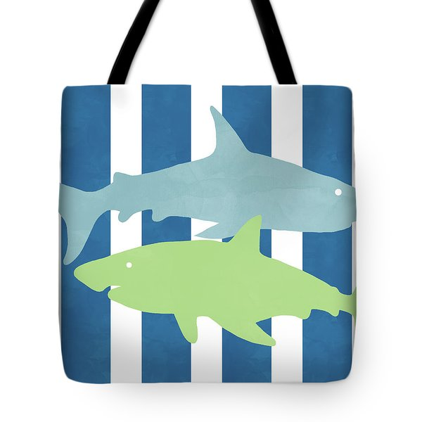 Blue And Green Sharks- Art By Linda Woods Tote Bag