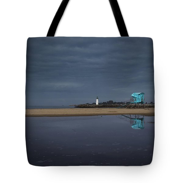 Tote Bag featuring the photograph Blue And Grey by Lora Lee Chapman