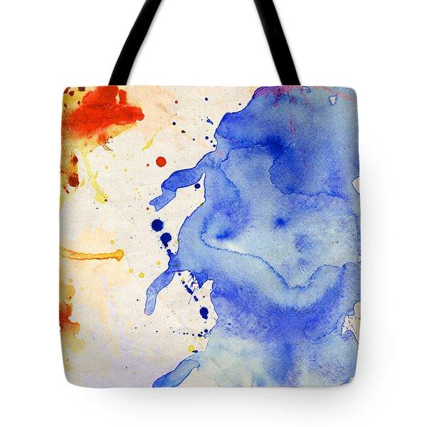 Blue And Orange Color Splash Tote Bag