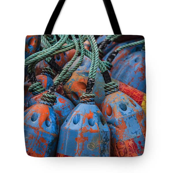Blue And Orange Fishing Buoys Tote Bag