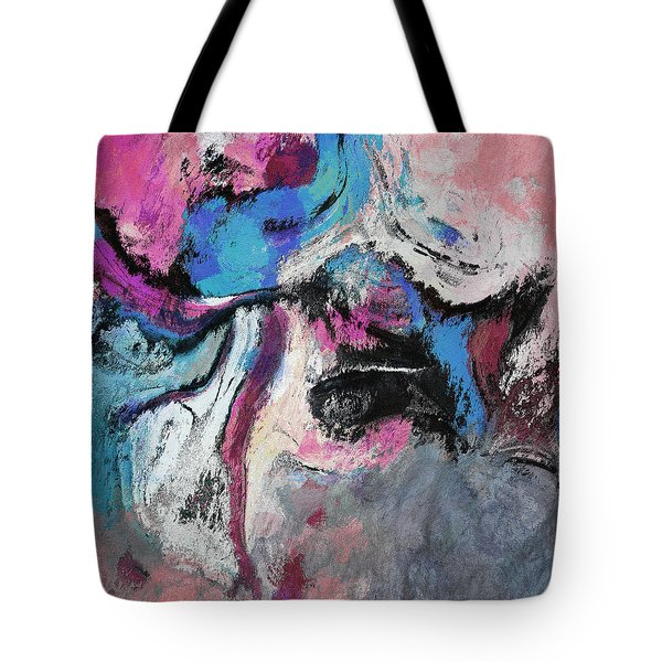 Tote Bag featuring the painting Blue And Pink Abstract Painting by Ayse Deniz