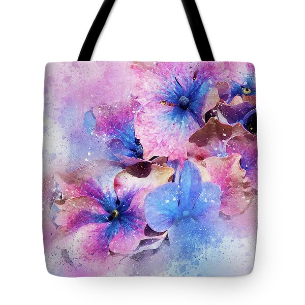 Blue And Purple Flowers Tote Bag