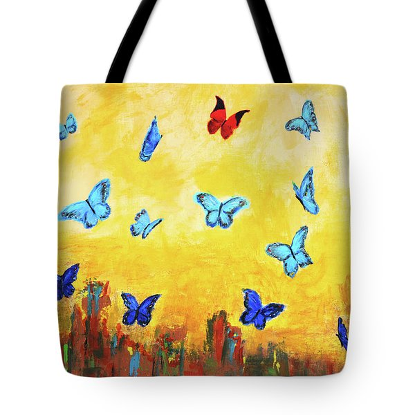 Blue And Red Butterflies Tote Bag