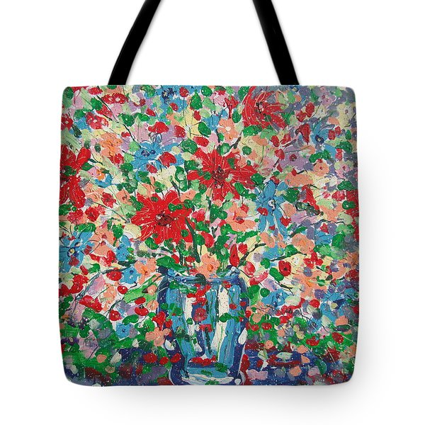 Blue And Red Flowers. Tote Bag