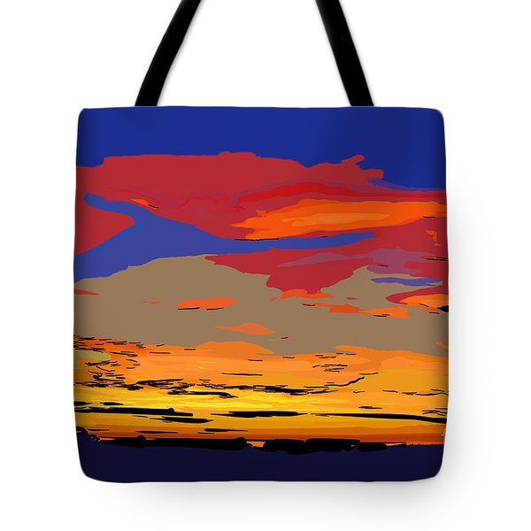 Tote Bag featuring the digital art Blue And Red Ocean Sunset by Kirt Tisdale