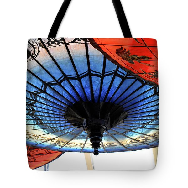 Blue And Red Umbrellas Tote Bag