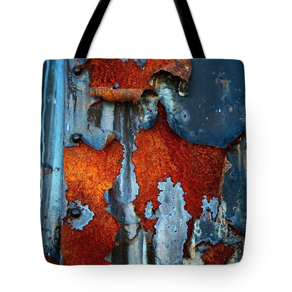 Tote Bag featuring the photograph Blue And Rust by Karol Livote