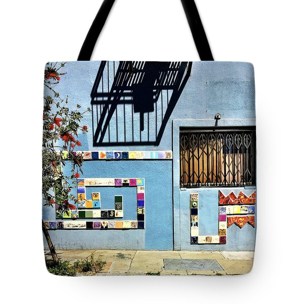 Blue And Shadow Tote Bag by Julie Gebhardt