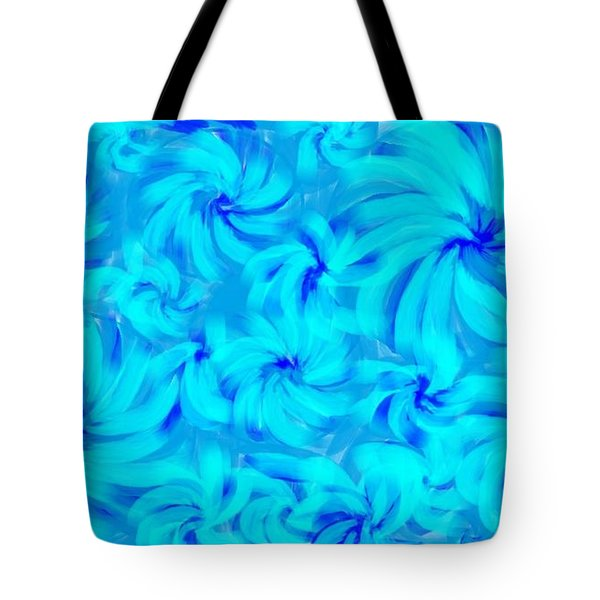 Blue And Turquoise 2 Tote Bag by Linda Velasquez