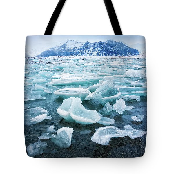 Tote Bag featuring the photograph Blue And Turquoise Ice Jokulsarlon Glacier Lagoon Iceland by Matthias Hauser