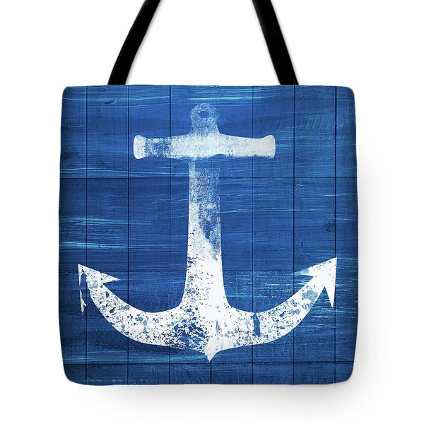 Tote Bag featuring the mixed media Blue And White Anchor- Art By Linda Woods by Linda Woods