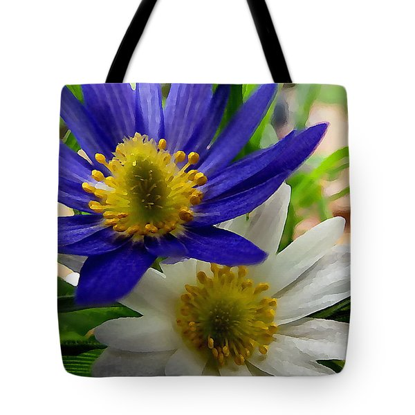 Blue And White Anemones Tote Bag