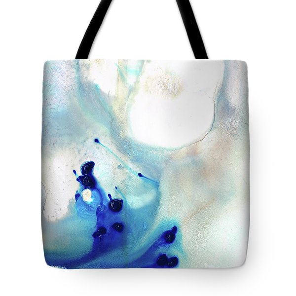 Tote Bag featuring the painting Blue And White Art - A Short Wave - Sharon Cummings by Sharon Cummings