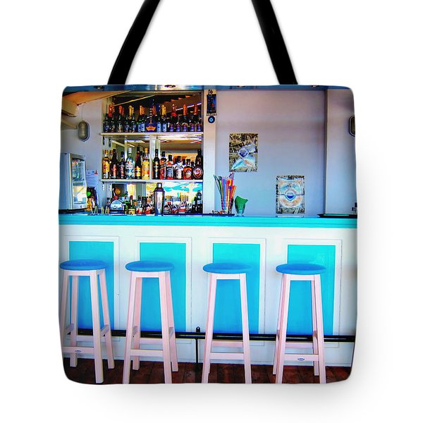 Blue And White Bar Tote Bag