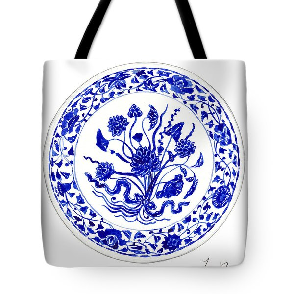 Blue And White Chinese Chinoiserie Plate 4 Tote Bag