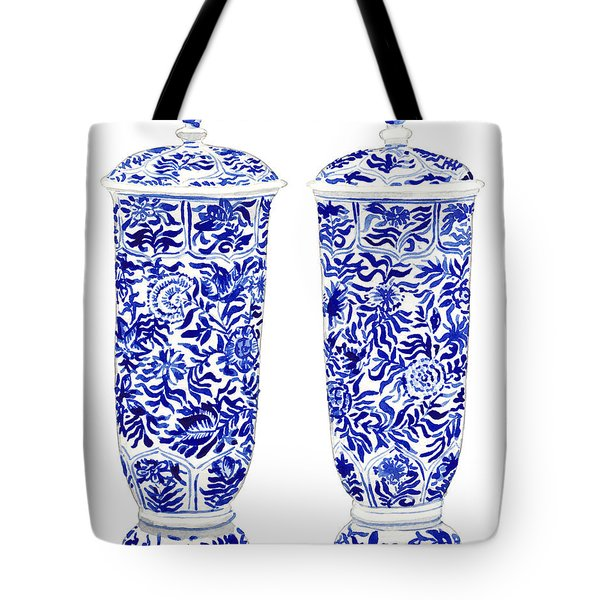 Blue And White Chinoiserie Vases Tote Bag