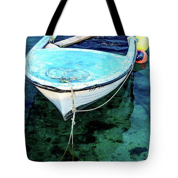 Blue And White Fishing Boat On The Adriatic - Rovinj, Croatia Tote Bag