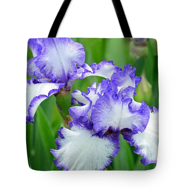 Tote Bag featuring the photograph Blue And White Iris by Rodney Campbell