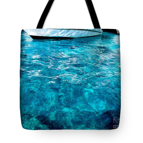 Blue And White Tote Bag by Mike Ste Marie