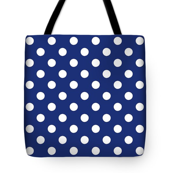 Tote Bag featuring the mixed media Blue And White Polka Dots- Art By Linda Woods by Linda Woods