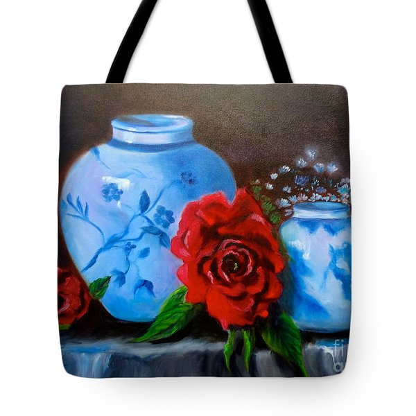 Blue And White Pottery And Red Roses Tote Bag