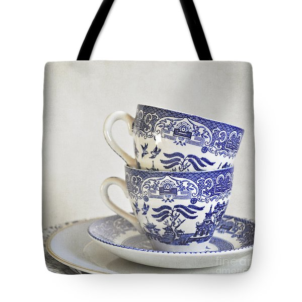 Blue And White Stacked China. Tote Bag