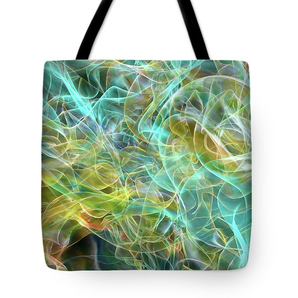 Tote Bag featuring the digital art Blue And Yellow Abstract by Matt Lindley