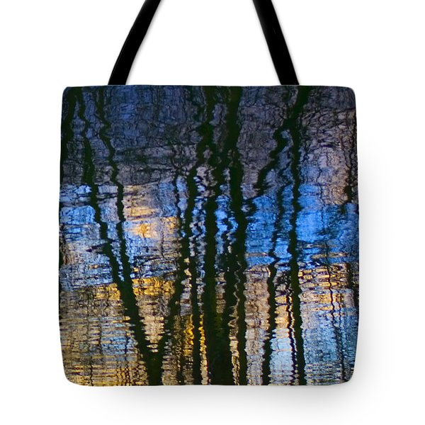 Blue And Yellow Abstract Reflections Tote Bag by Pixie Copley