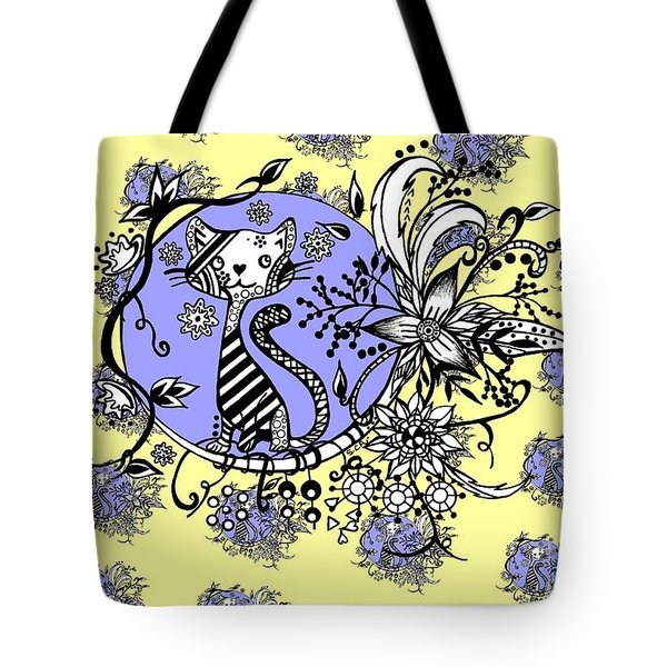 Tote Bag featuring the drawing Blue And Yellow Cat Pattern by Saribelle Rodriguez