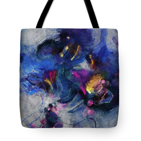 Tote Bag featuring the painting Blue And Yellow Minimalist / Abstract Painting by Ayse Deniz