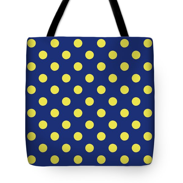 Tote Bag featuring the mixed media Blue And Yellow Polka Dots- Art By Linda Woods by Linda Woods
