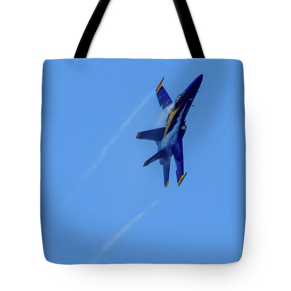 Tote Bag featuring the photograph Blue Angel 5 Contrails by Randy Scherkenbach