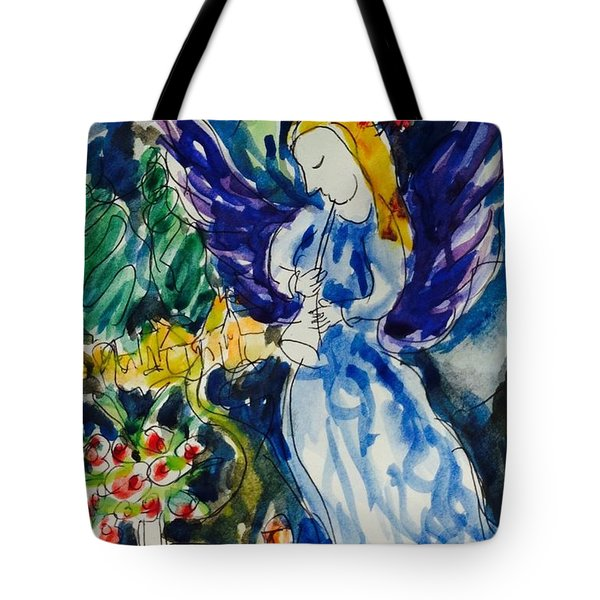 Blue Angel And Red Bird Tote Bag