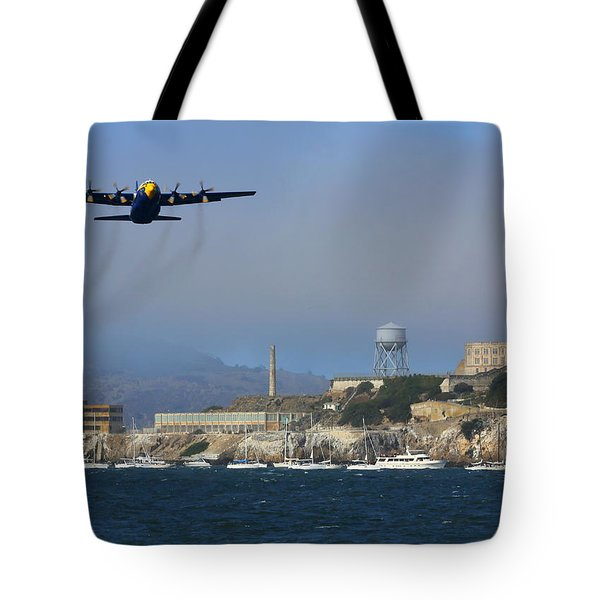 Tote Bag featuring the photograph Blue Angels C130 Fat Albert Passes Alcatraz by John King