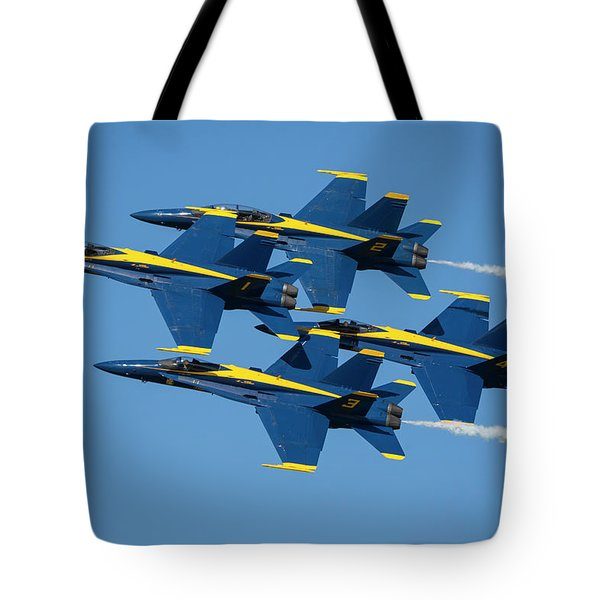 Tote Bag featuring the photograph Blue Angels Diamond Formation by Adam Romanowicz